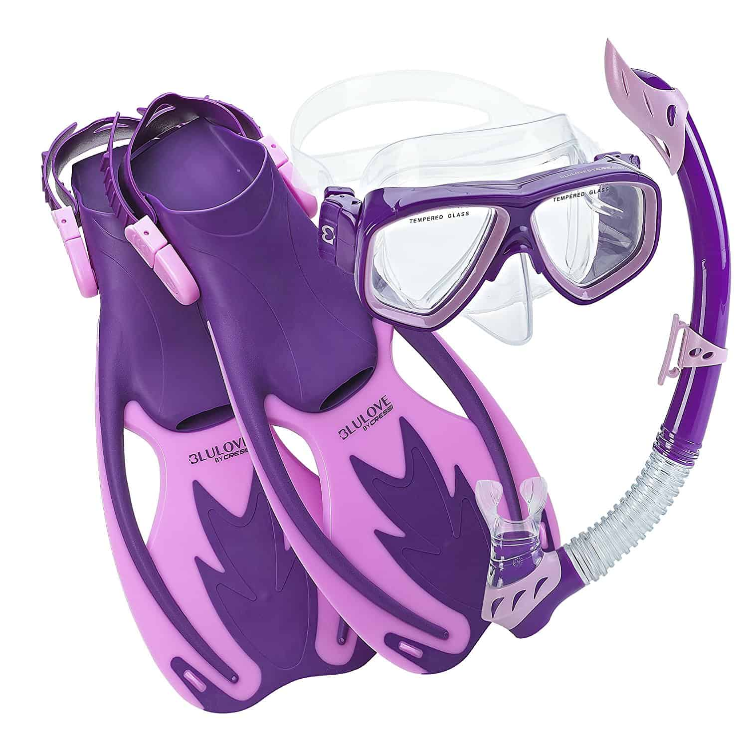 Cressi Rocks Kids Snorkel Mask Fins set - Purple Pink