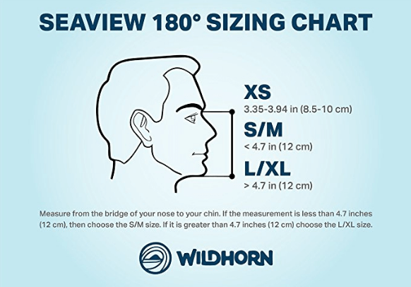 SeaView 180° Full Face Snorkel Mask Sizing Chart