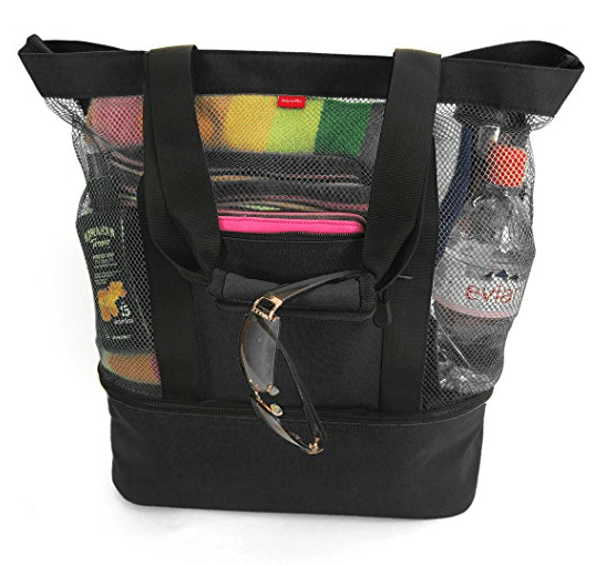 Odyseaco Aruba Mesh Beach Tote Bag with Insulated Picnic Cooler Black