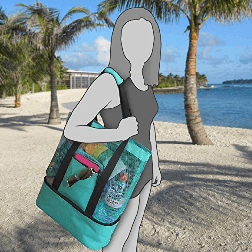 Odyseaco Aruba Mesh Beach Tote Bag with Insulated Picnic Cooler