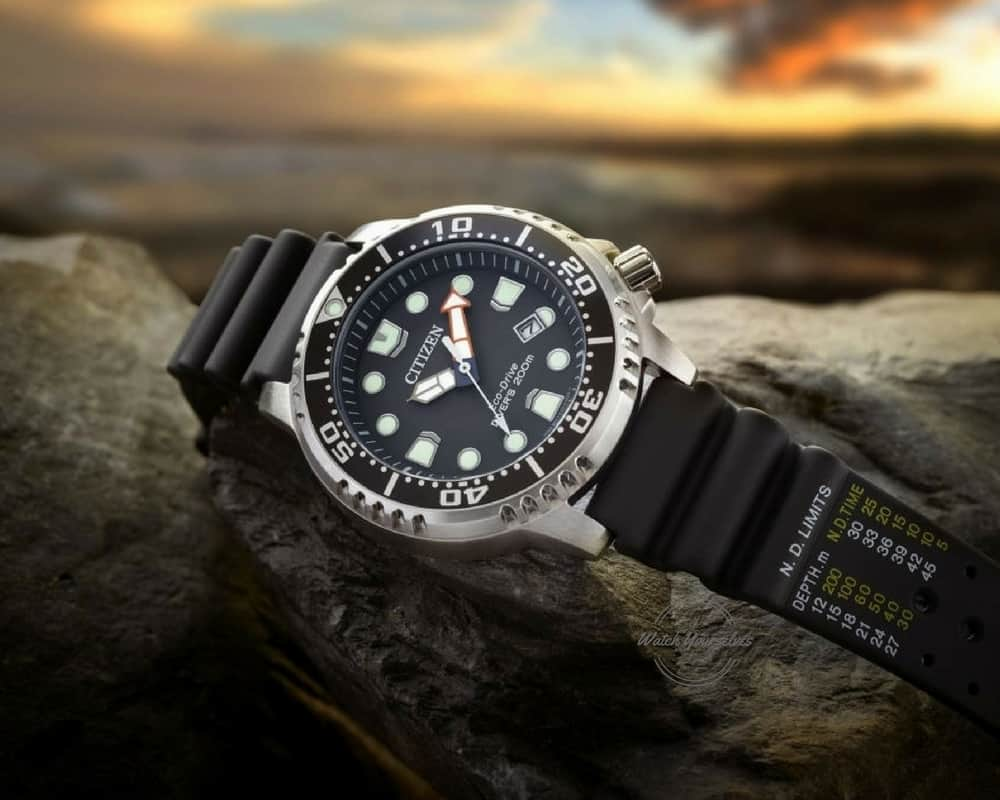Citizen Eco Drive Promaster Divers Watch BN0150-28E - showing Dive Tables on the band