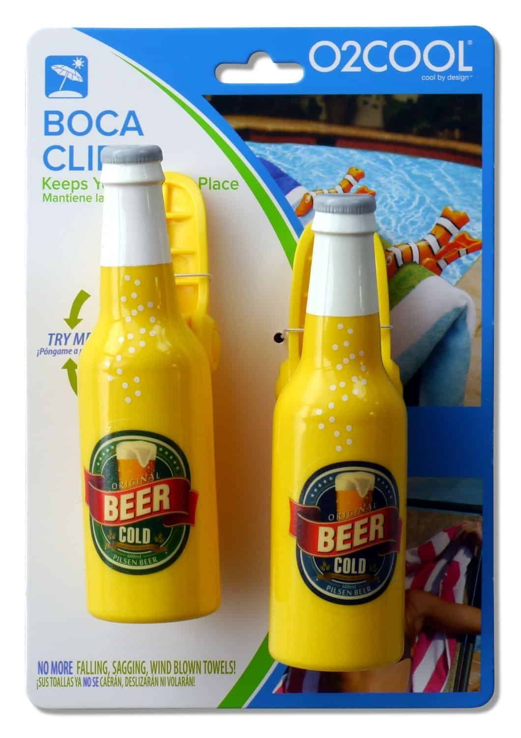 Beer Bottle Boca Clips O2Cool for beach chairs