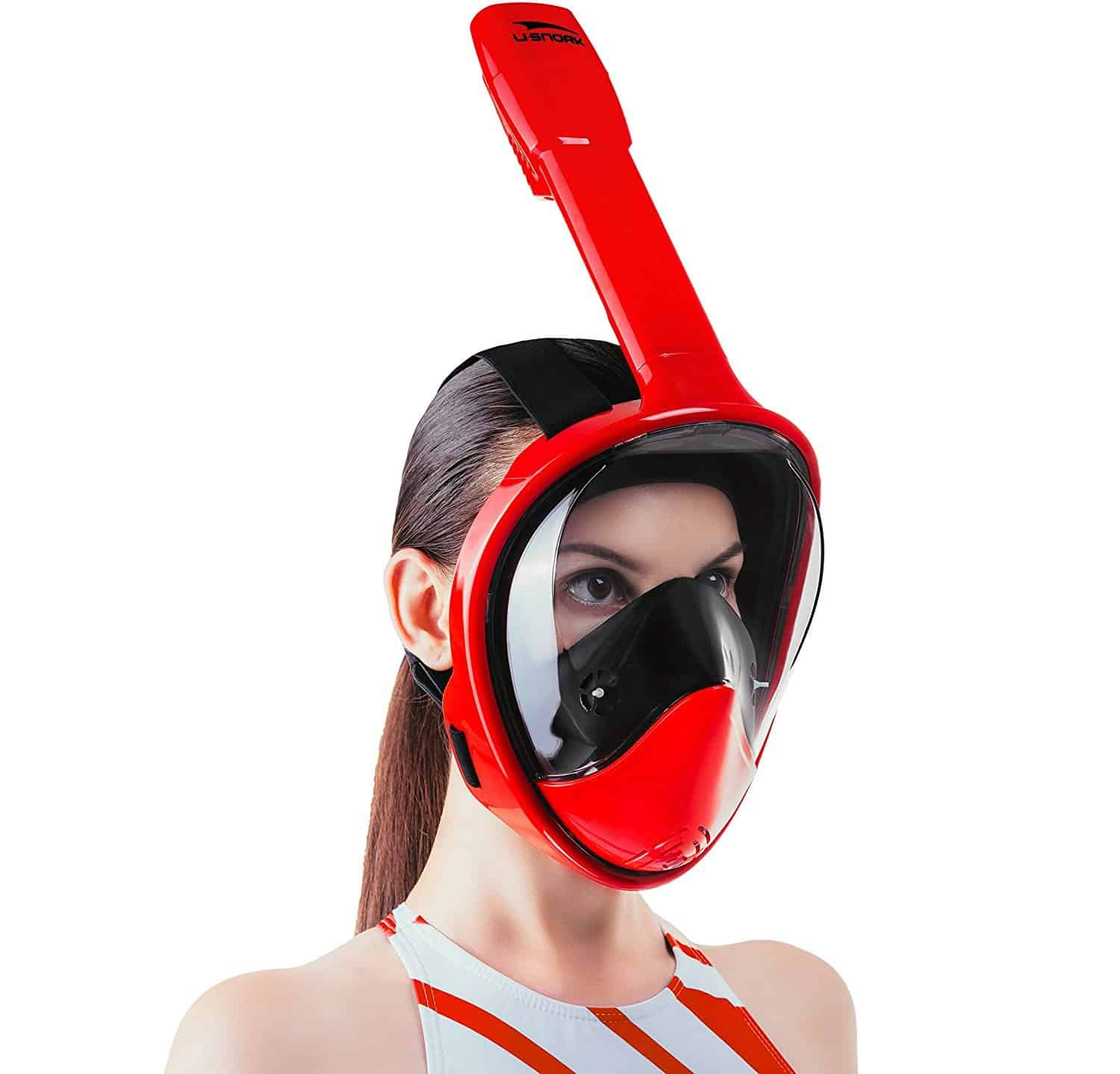 USnork full face snorkel mask Black-Red