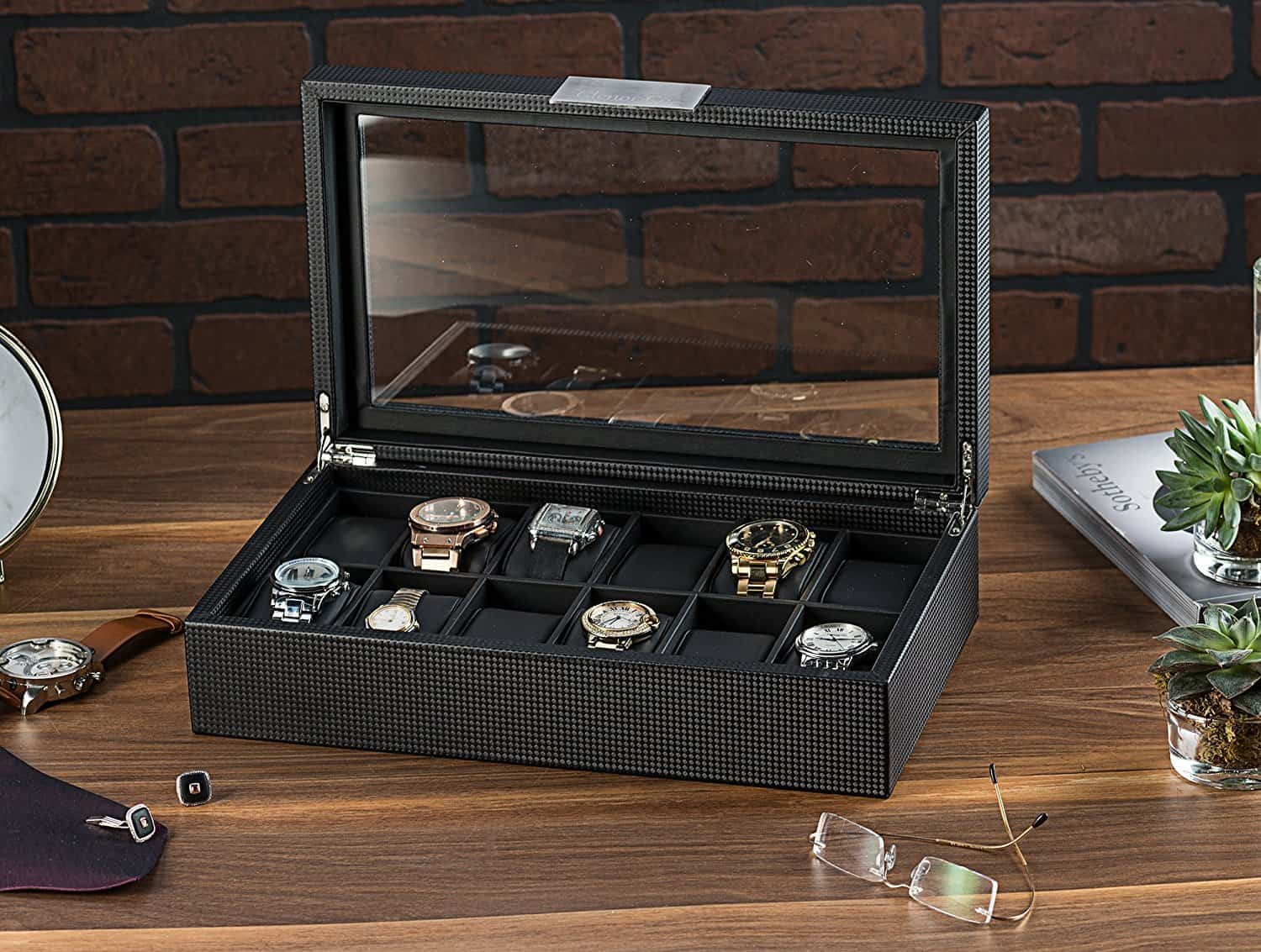 Glenor Co Watch Box for Men - 12 Slot