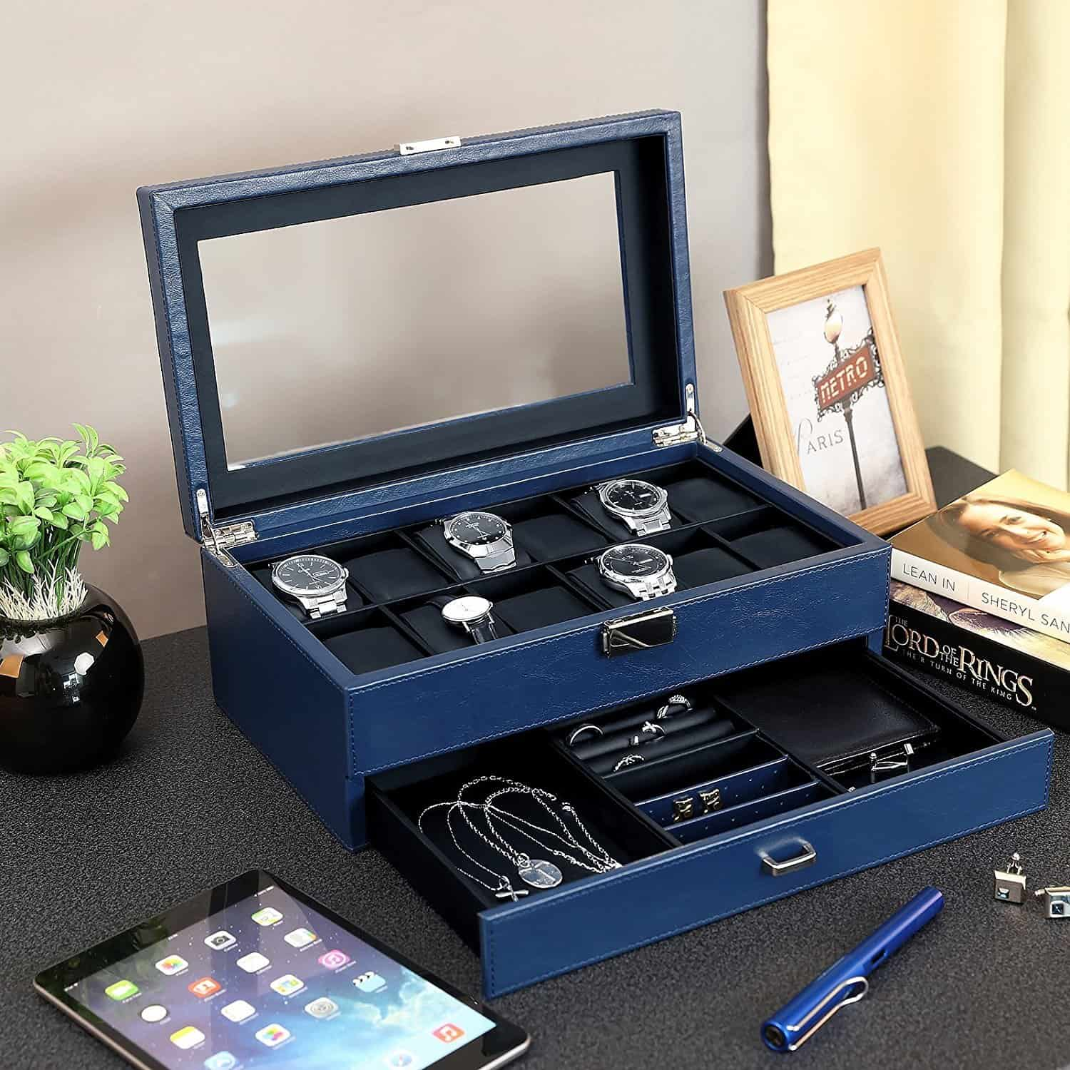 SONGMICS Lockable Watch and Jewelry Box - Blue Case with 12 Pillows UJWB012Z