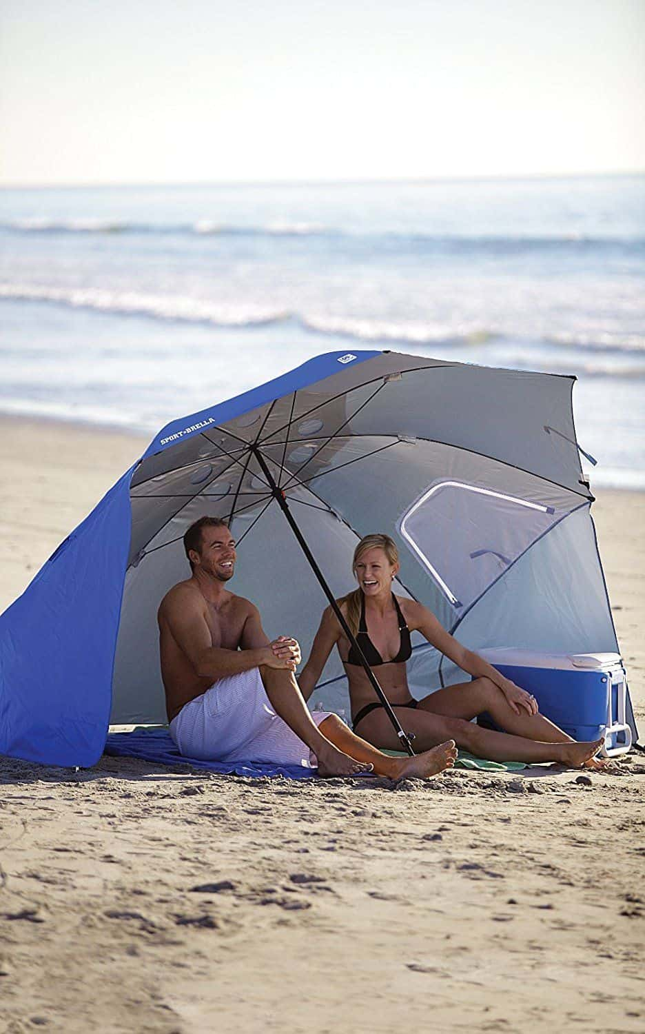 Don't get burnt this vacation. The Sport-Brella beach shade has side extensions to give really good coverage from the sun