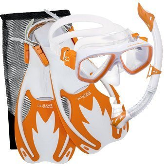 Cressi Kids Rocks Snorkel Fins Mask Set White-Orange