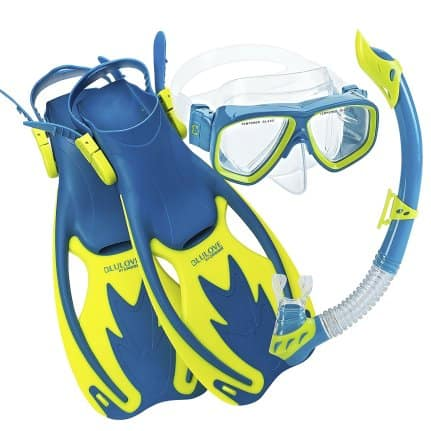 Cressi Rocks Kids Mask Snorkel Fin Set Blue-Yellow