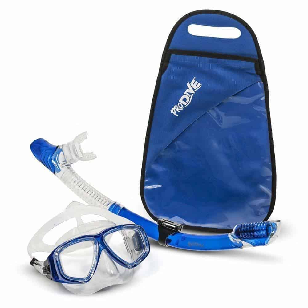 PRODIVE Premium Dry Top Snorkel Set - Blue