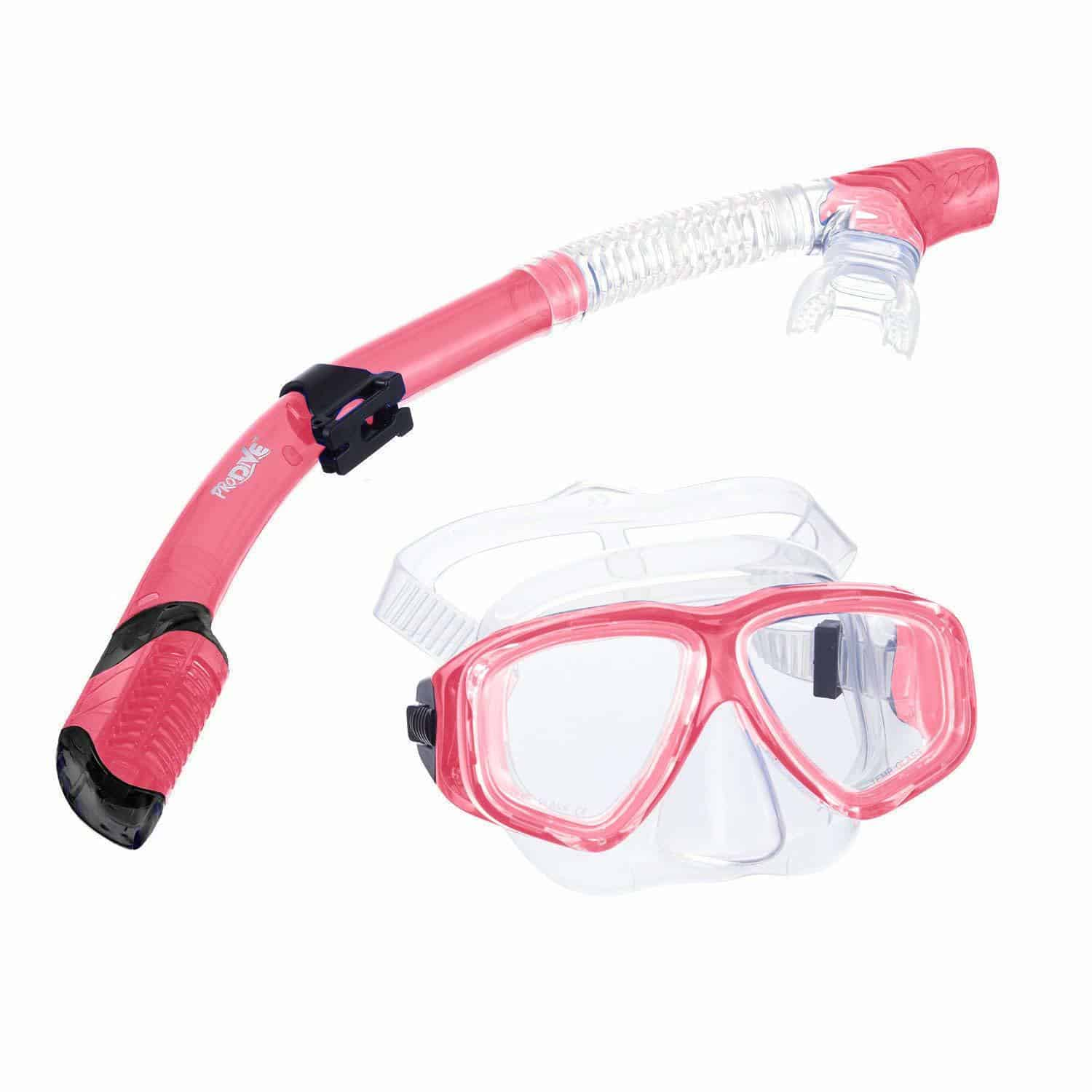 PRODIVE Premium Dry Top Snorkel Set - Rose