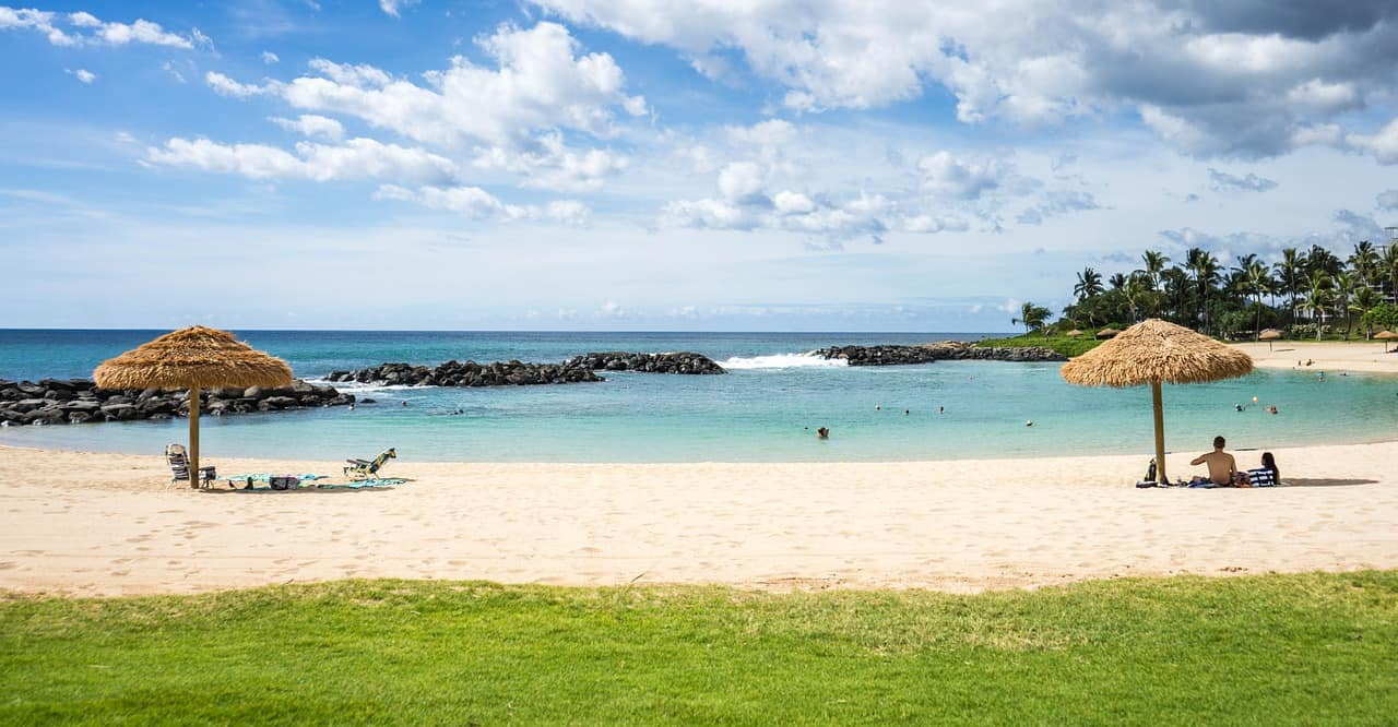 Snorkeling and swimming in the Ko Olina Resort Lagoon, Hawaii