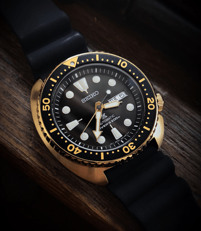 Seiko SRPC44 Turtle Black and Gold