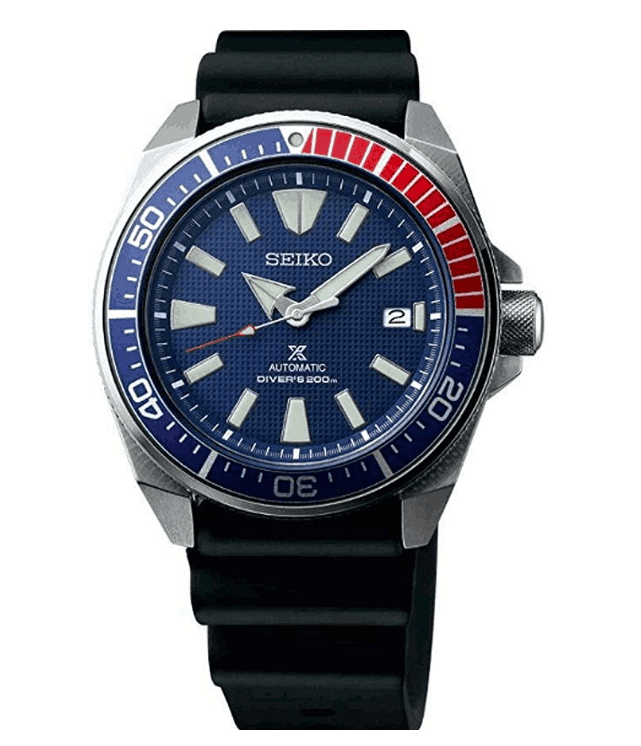 Seiko Prospex Samurai Mens Black Silicone Band Blue Quartz Dial Watch