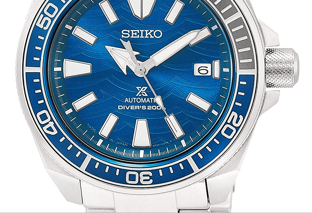Seiko Samurai Great White Shark Close Up of Watch Dial
